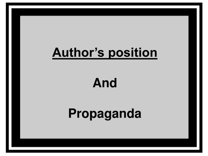 Author's position