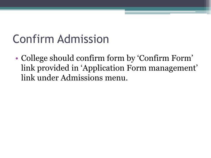 Confirm Admission