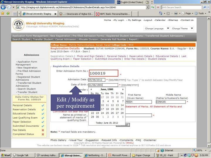 Edit / Modify as per requirement