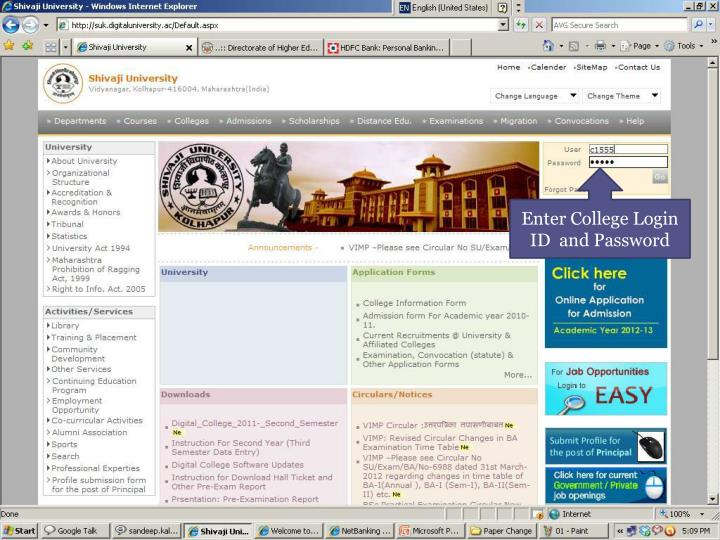 Enter College Login ID  and Password
