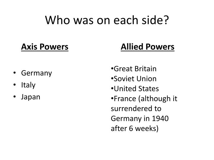 Who was on each side?