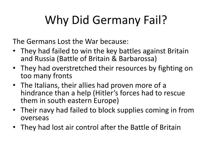 Why Did Germany Fail?