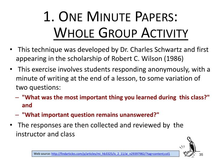 1. One Minute Papers: