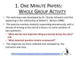 1 one minute papers whole group activity