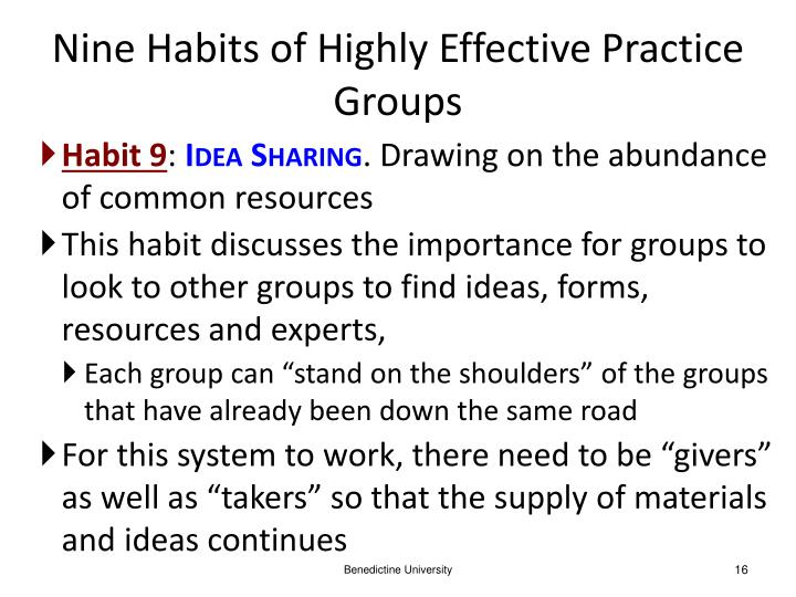 Nine Habits of Highly Effective Practice