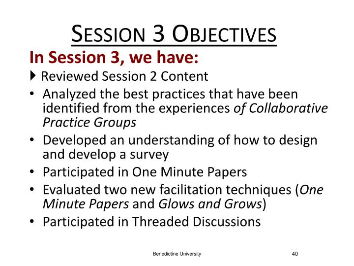 Session 3 Objectives