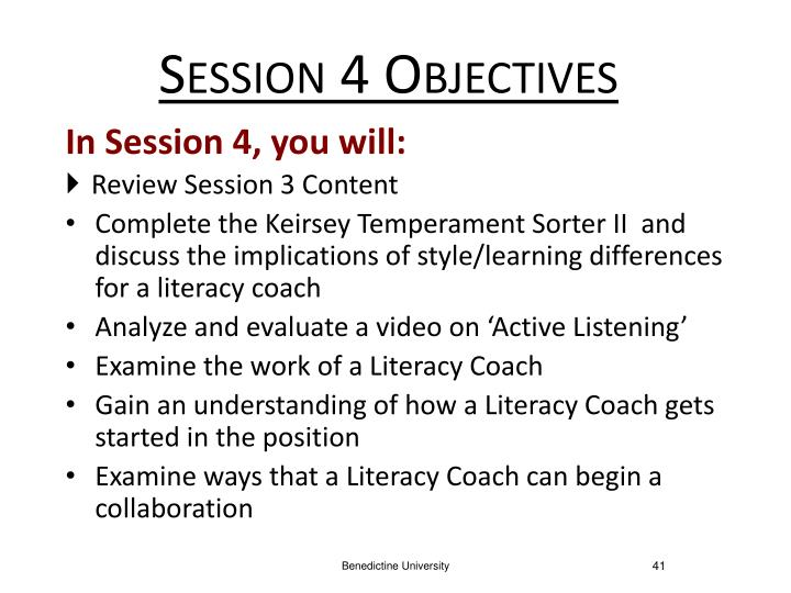 Session 4 Objectives