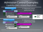 admission control examples capability nas initiated replication