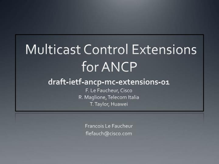 multicast control extensions for ancp