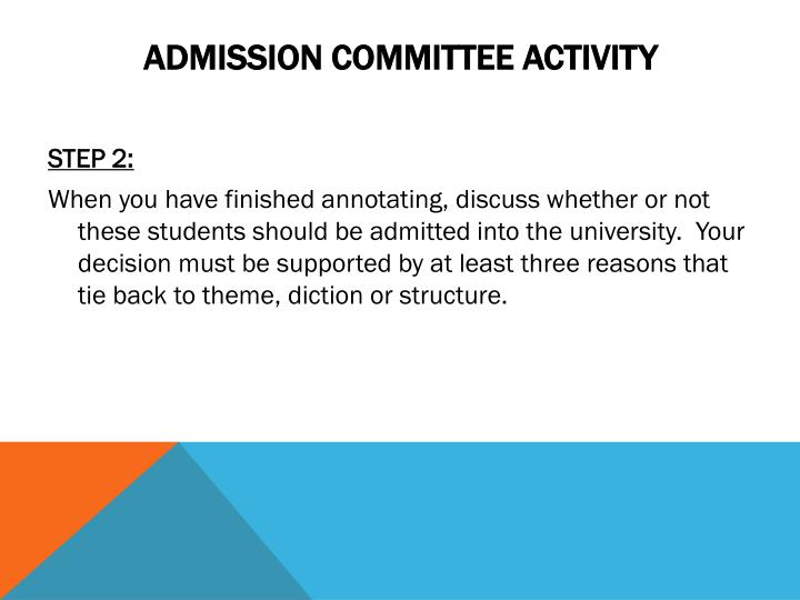Admission Committee Activity