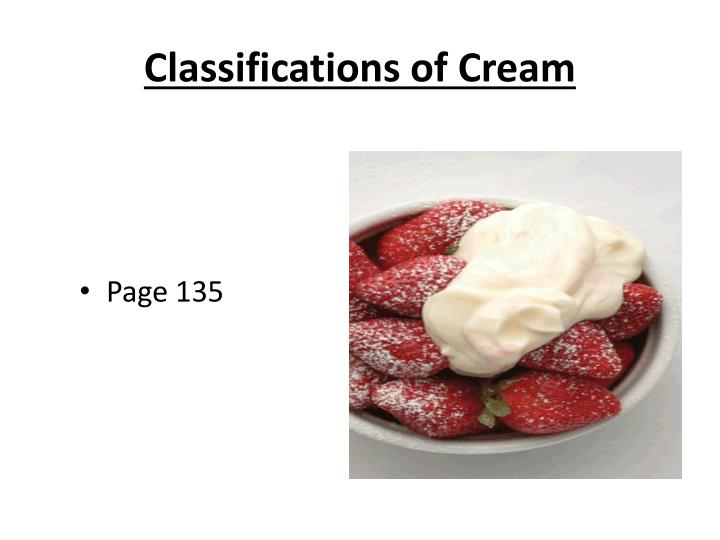 Classifications of Cream