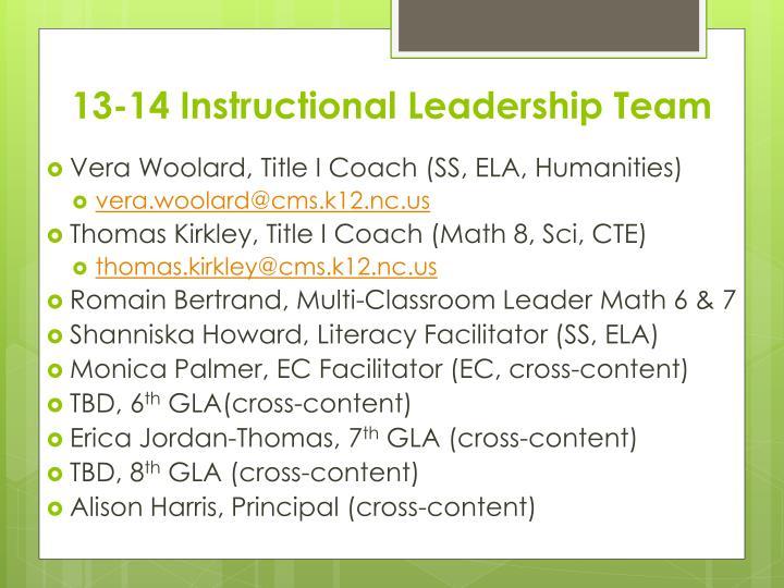 13-14 Instructional Leadership Team