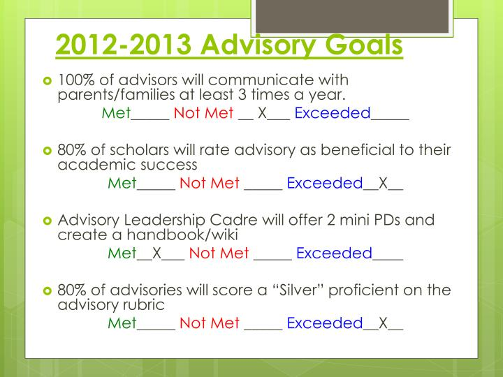 2012-2013 Advisory Goals