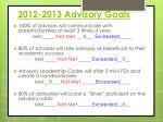 2012 2013 advisory goals