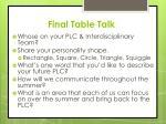 final table talk