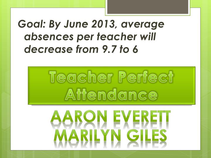 Goal: By June 2013, average absences per teacher will decrease from 9.7 to 6