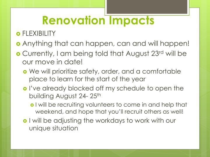 Renovation Impacts
