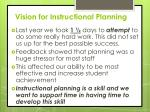 vision for instructional planning