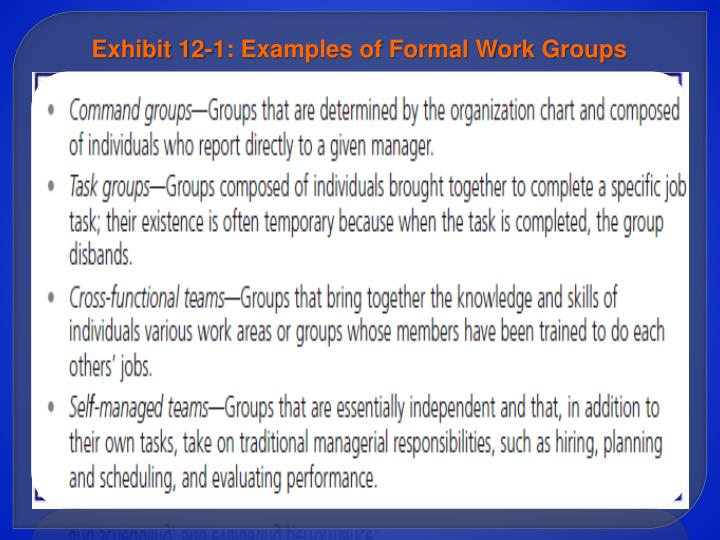 Exhibit 12-1: Examples of Formal Work Groups