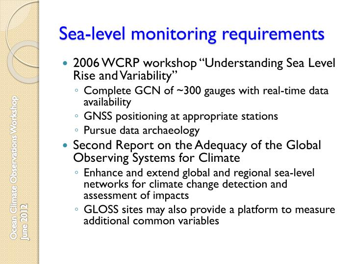 Sea-level monitoring requirements