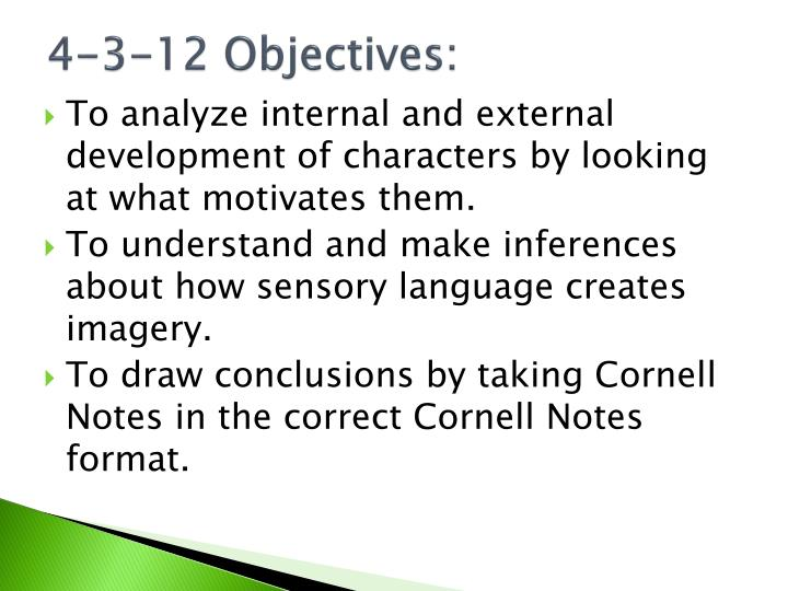 4-3-12 Objectives: