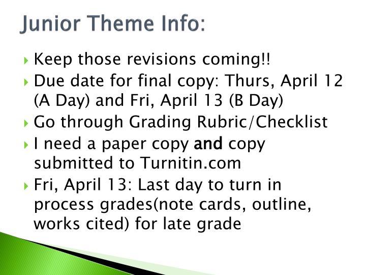 Junior Theme Info: