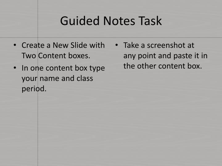 Guided Notes Task