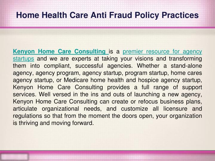 Home health care anti fraud policy practices1