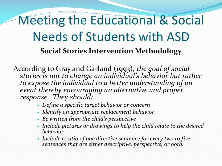 Meeting the Educational & Social Needs of Students with ASD