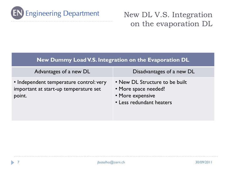 New DL V.S. Integration on the evaporation DL