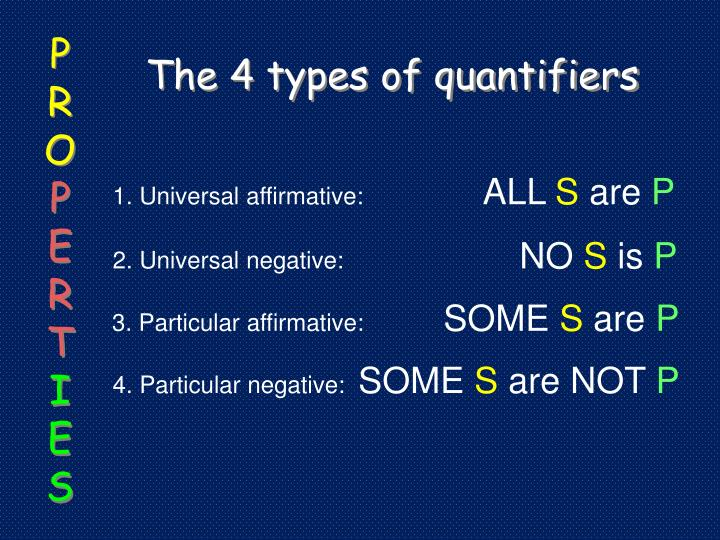 The 4 types of quantifiers