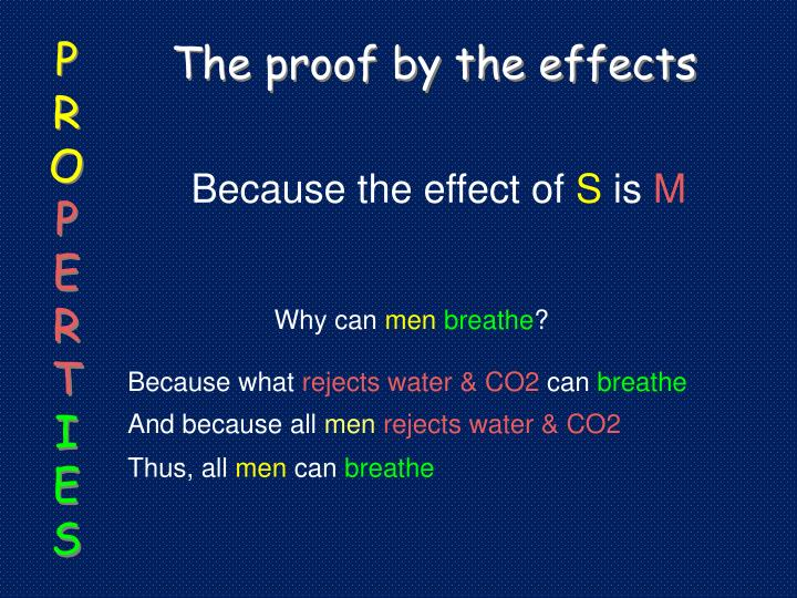 The proof by the effects