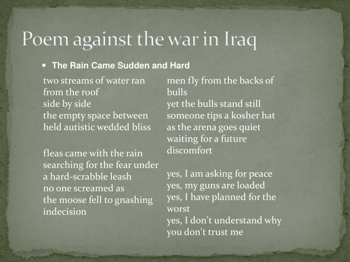 Poem against the war in Iraq