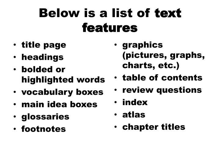 Below is a list of
