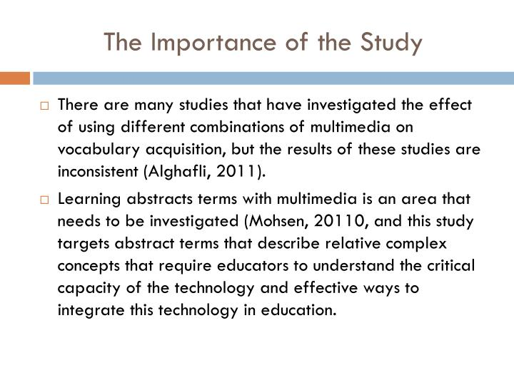 The Importance of the Study