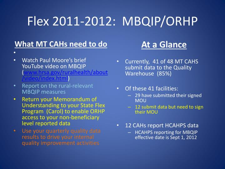 Flex 2011-2012:  MBQIP/ORHP