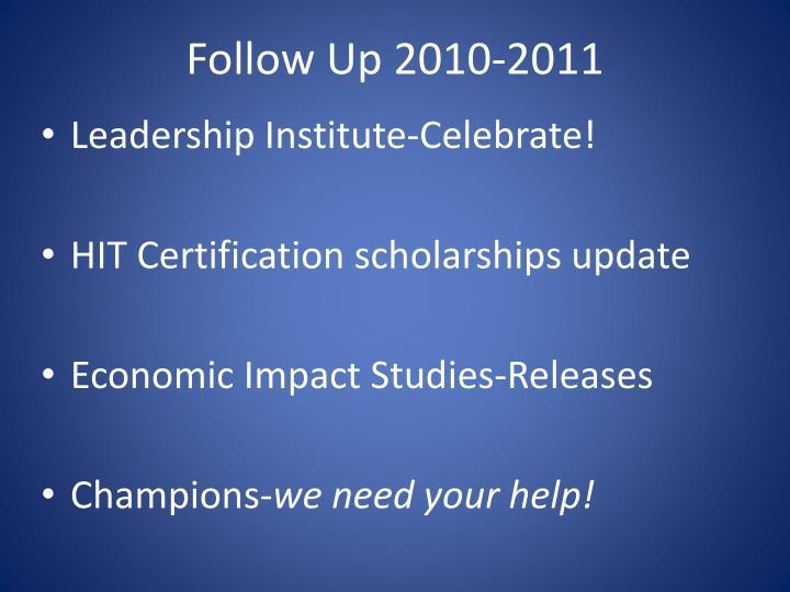 Follow Up 2010-2011