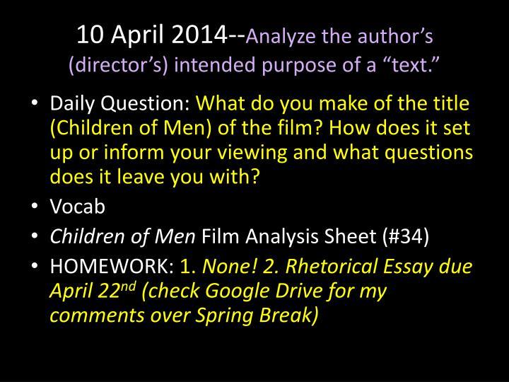 10 April 2014--