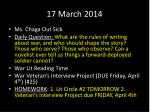 17 march 2014