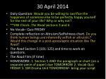 30 april 2014