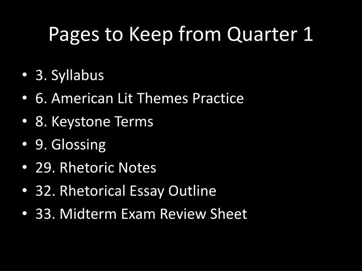 Pages to Keep from Quarter 1