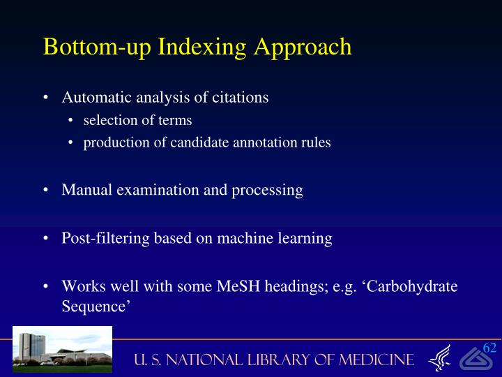 Bottom-up Indexing Approach