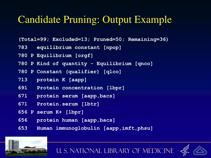 Candidate Pruning: Output Example