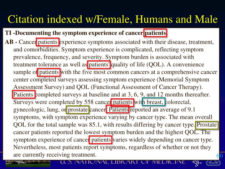Citation indexed w/Female, Humans and Male