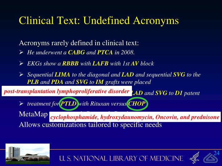 Clinical Text: Undefined Acronyms