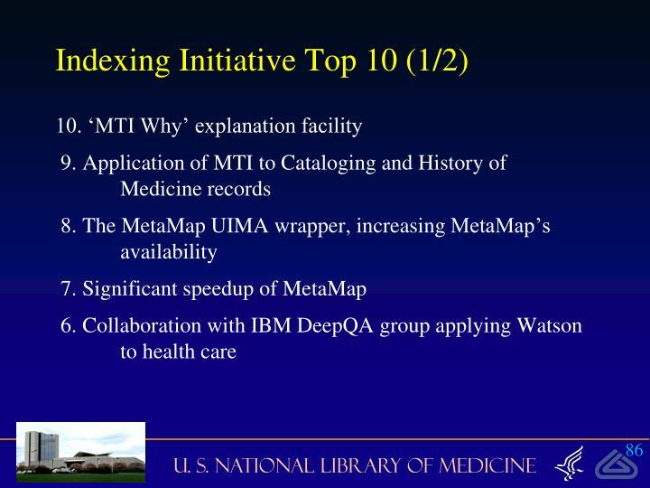 Indexing Initiative Top 10 (1/2)