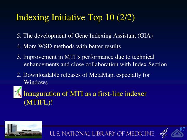 Indexing Initiative Top 10 (2/2)