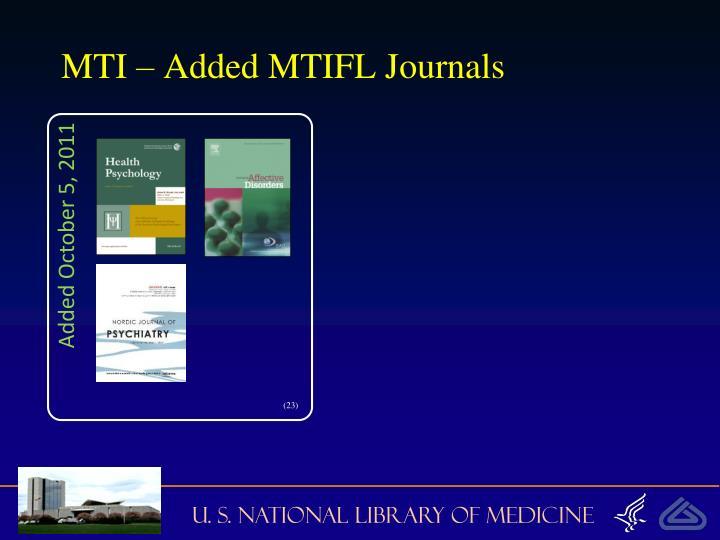 MTI – Added MTIFL Journals