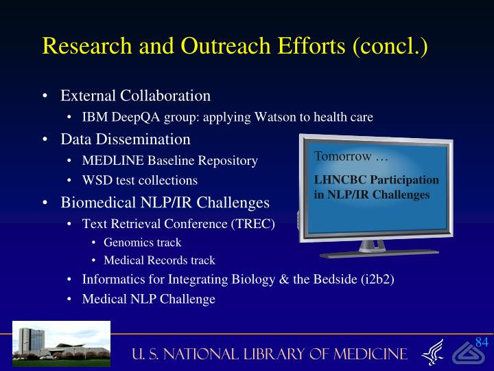 Research and Outreach Efforts (