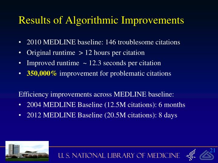 Results of Algorithmic Improvements